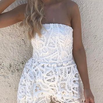 White Bandeau Lace Playsuit