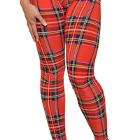 Tartan Red Plaid Leggings Design 42