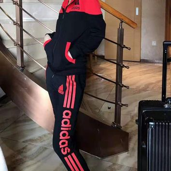 """""""Adidas"""" Woman's Leisure Fashion Letter Printing Zipper Hooded Spell Color Long Sleeve Tops Trousers Two-Piece Set Casual Wear Sportswear"""