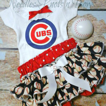 Girls Chicago Cubs Outfit, Baby Girls Chicago Cubs Coming Home Outfit, Baseball Outfit, Game day