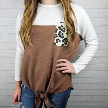 Tie Front Leopard Pocket Top - Mocha - Small or Medium only
