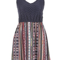 Chevron Lace Top Multicolor Patterned Dress - Multi