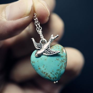 Natural Turquoise Heart Necklace - Turquoise Necklace - Tiny Silver Swallow Bird Necklace - Chunky Turquoise Pendant - Tiny Silver Necklace