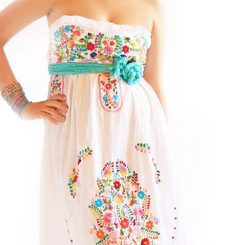 Alegria white Mexican embroidered bohemian strapless dress
