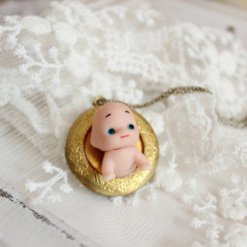mother day  dainty round doll baby  locket necklace doll necklace-new mom