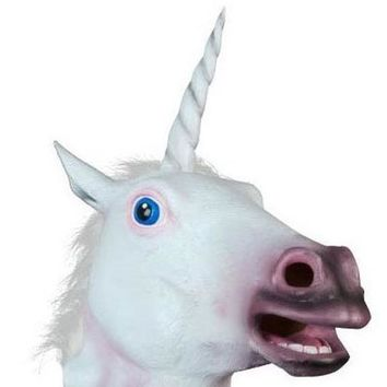 Unicorn horse Halloween costume party novelty latex rubber creepy