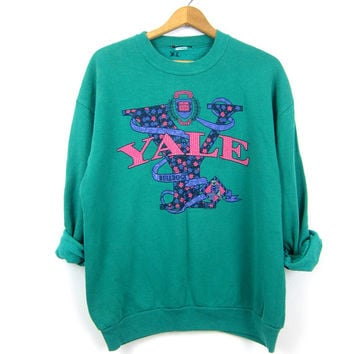 20% OFF Vintage 80s Yale University Bulldogs sweatshirt slouchy Turquoise Green cotton blend Preppy sweatshirt Women's size Large