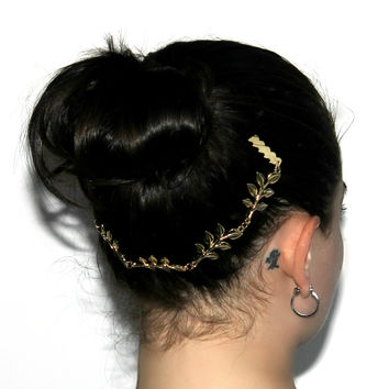 """We BeLEAF In You"" Gold Hair Comb Head Chain"