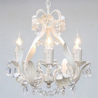 """WROUGHT IRON FLORAL CHANDELIER CRYSTAL FLOWER CHANDELIERS LIGHTING H15"""" X W11"""" SWAG PLUG IN-CHANDELIER W/ 14' FEET OF HANGING CHAIN AND WIRE! - A7-B17/WHITE/CL/326/4"""