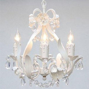 "WROUGHT IRON FLORAL CHANDELIER CRYSTAL FLOWER CHANDELIERS LIGHTING H15"" X W11"" SWAG PLUG IN-CHANDELIER W/ 14' FEET OF HANGING CHAIN AND WIRE! - A7-B17/WHITE/CL/326/4"