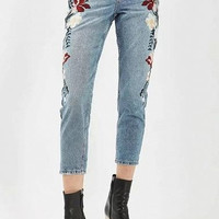 Blue Light Acid Wash Floral Embroidered Jeans