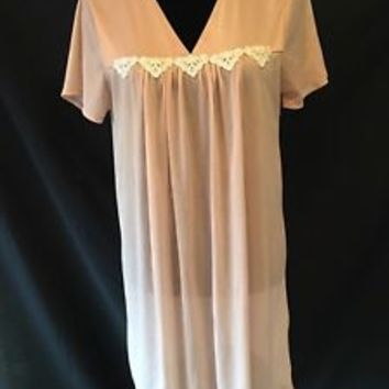 Blair Vintage Nightgown, Beige with White Applique, Short Sleeves, Small