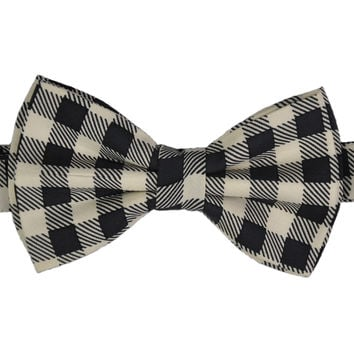 Black & Winter White Checks Silk Bow Tie