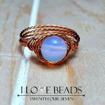 Moonstone ring, Rainbow moonstone ring, silver ring, copper ring, gold ring, wire wrapped ring, moonstone jewelry, rainbow moonstone jewelry