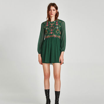 EMBROIDERED DOTTED MESH DRESS