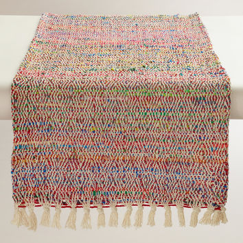 Red Recycled Sari Table Runner - World Market