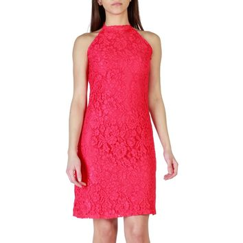 Fruscio Red Mandarin Collar Sleeveless Dress