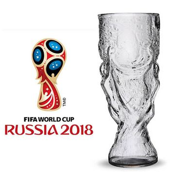 2018 New Creative 350mL Glass Cup Bar Crystal Water Whiskey Wine Drinking The Football World Cup Design Glass Wine Beer Cup