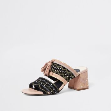 Black aztec low block heel sandals - Sandals - Shoes & Boots - women
