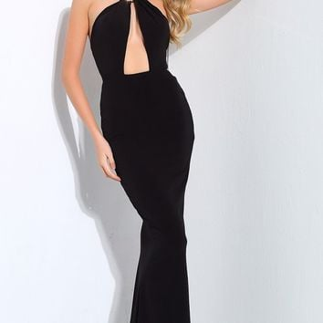 Sealed With A Kiss Black Metal Necklace Halter Neck Cut Out Maxi Dress Evening Gown