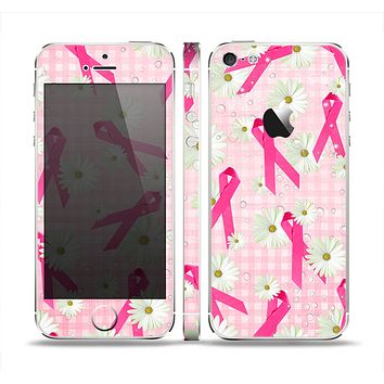 The Pink Ribbon Collage Breast Cancer Awareness Skin Set for the Apple iPhone 5