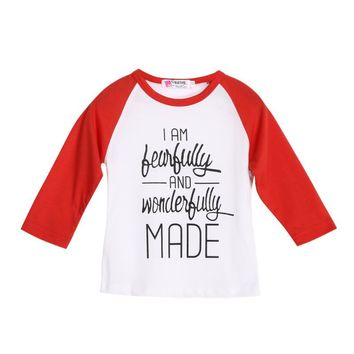 "Boy's Long-Sleeve ""I Am Fearfully and Wonderfully Made"" Printed T-Shirt"