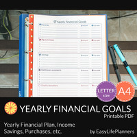 YEARLY FINANCIAL GOALS pdf. A4 and Letter Size. Printable Expense, Budget, Goals, Bills, Incomes Tracker. Budget Organization Printables.