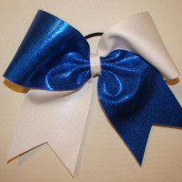 Shiny Blue and White Criss Cross Cheer Bow