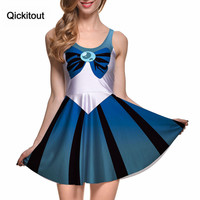 Qickitout Dress 2015 Summer Dresses Women Clothing Sailor Moon Style Cosplay Costume DRESS Pleated Dresses Sundress Drop Ship