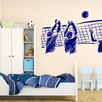 Wall Vinyl Decal Team Game Volleyball Interior Sports School Unique Gift z4610