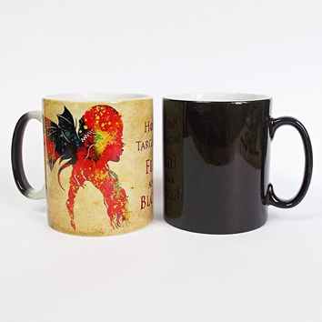 game of thrones mugs Daenerys mugs Emilia Clarke coffee mug disappearing transforming novelty heat changing color beer tea cups
