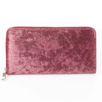 Pink Velvet Finish Clutch Wallet Bag Accessory