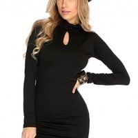Black Long Sleeve Sexy Asymmetrical Dress