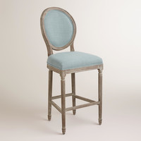 Blue Linen Paige Barstool - World Market