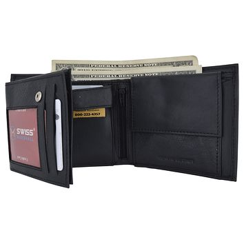 Mens RFID Leather Multi Credit Card ID Snap Bifold Wallet with Coin Pouch