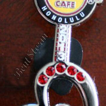 Licensed cool Hard Rock Cafe Honolulu Pin Hawaii VALENTINES DAY Heart Guitar Jewels LE 100 NEW
