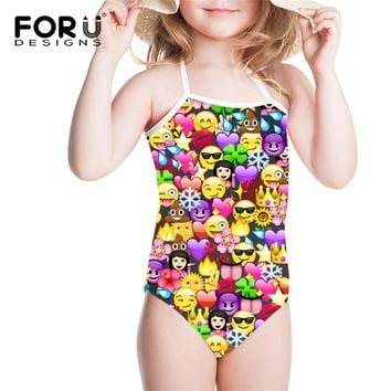 FORUDESIGNS Children Swimwear Girl Swimsuit One Piece Funny Emoji 3D Printing Girls Swimming Suits Bikini Bathing Suit for Beach