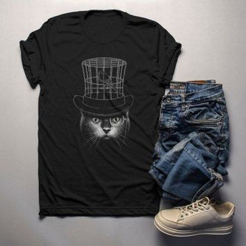 Men's Cool Cat T Shirt Hipster Cat Shirts Top Hat Gentlemen Cats Monocle Glasses Hand Drawn Illustration Tee