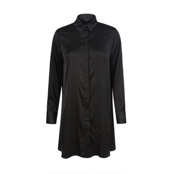 Apparel Women Shirts Blouse Casual Solid Black Loose Female Longline Shirts Style Ladies Blouse