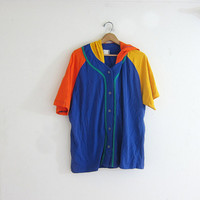 20% OFF SALE vintage hooded shirt. button up hoodie. colorblock pullover shirt. Orange + blue shirt.