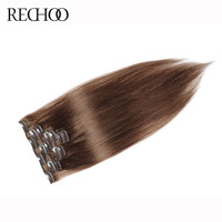 Rechoo Straight Clip In Human Hair Extensions Light Brown Color 7 Pcs 120G Non-Remy Hair Clips In Extension Free shipping