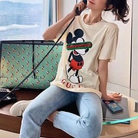 """Gucci x Disney"" Women Fashion Sequin Embroidery Cute Cartoon Mickey Mouse Print Short Sleeve T-shirt Top Tee"