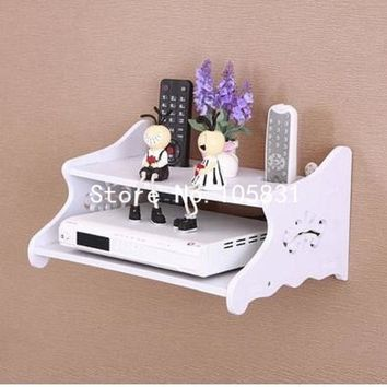 Rural creative set-top box wall shelf TV box wall mural hanging rack