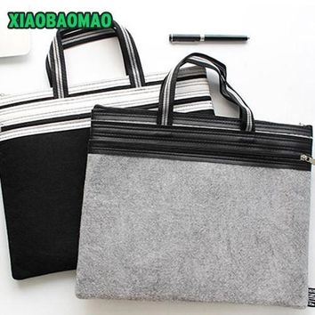 High Quality Brand A4 Chemical Felt File Folder Document Bags Portable Double Layer File Folder Zipper Handle Filing Holder