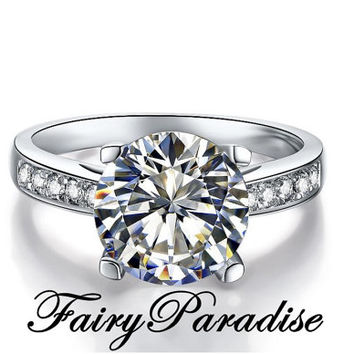 2 Carat Channel Set Engagement / Promise Rings, 4 prong, Round Cut Man Made Diamond in Solid 925 Silver (FairyParadise )