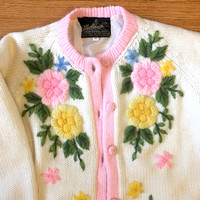 60s knit cardigan - vintage pastel floral sweater chunky jumper pinup crewel white pink blue yellow chunky warm long sleeve button up kitsch