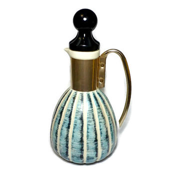 1957 C. Miller Coffee Carafe, 1950's Mid Century Modern Serving Pitcher in Blue and White with Cork Stopper