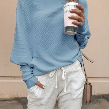 New Sky Blue Off Shoulder Long Sleeve Casual Pullover Sweater