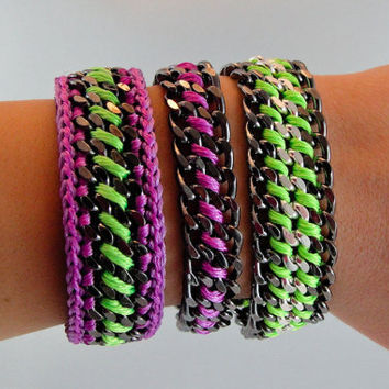 Arm Party 2 Designer Bracelets with Chains Leather by GetShackled
