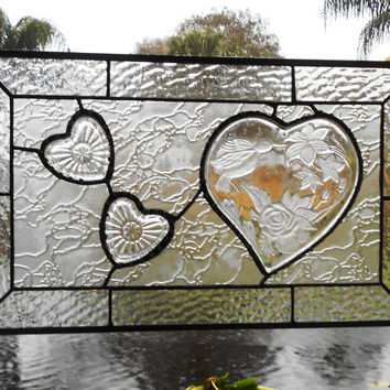 Stained Glass Window Panel Crystal Heart Dish Valance Transom